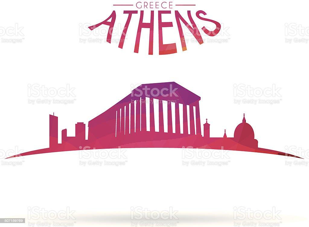 Athens modern cityscape vector art illustration