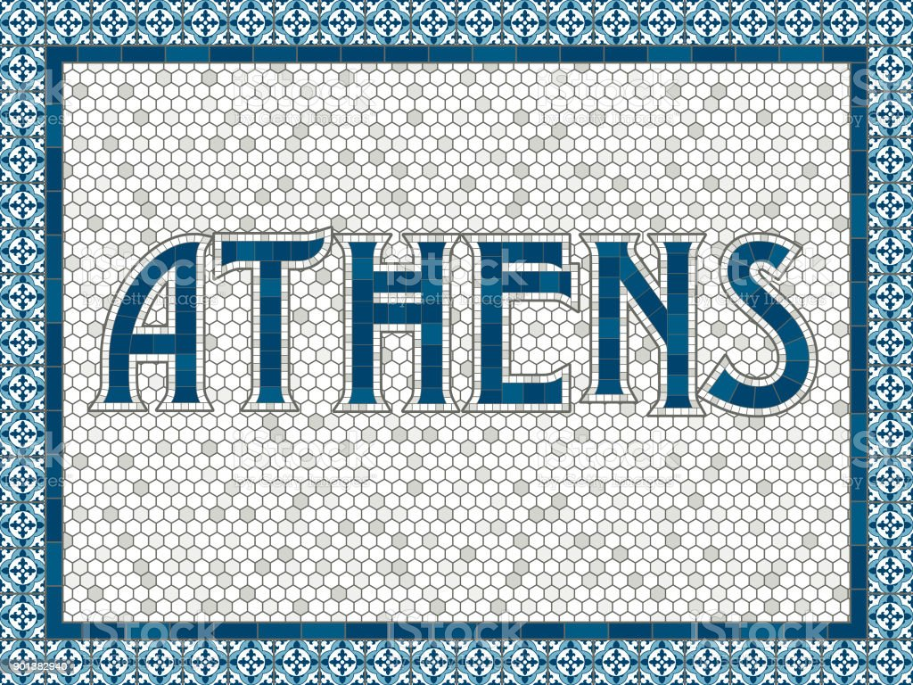 Athens Old Fashioned Mosaic Tile Typography vector art illustration