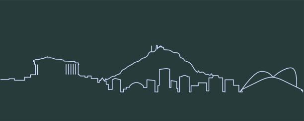 stockillustraties, clipart, cartoons en iconen met athene enkellijns skyline - athens