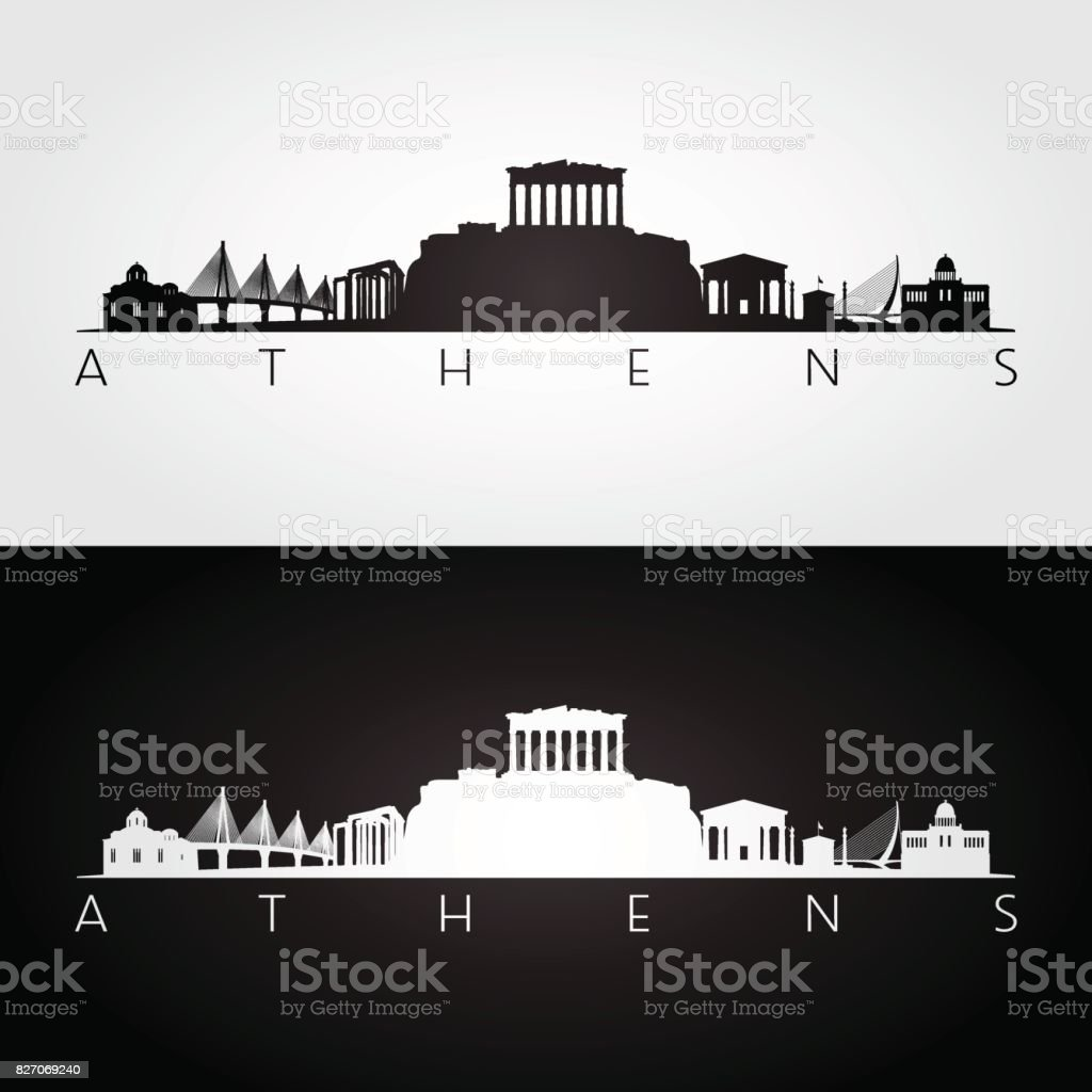 Athens skyline and landmarks silhouette, black and white design, vector illustration. vector art illustration