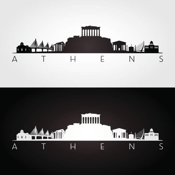 stockillustraties, clipart, cartoons en iconen met athene skyline en bezienswaardigheden silhouet, zwart / wit ontwerp, vectorillustratie. - athens