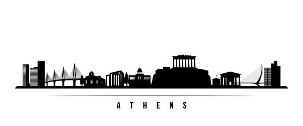 stockillustraties, clipart, cartoons en iconen met athene skyline horizontale banner. zwart-wit silhouet van athene, griekenland. vector sjabloon voor uw ontwerp. - athens
