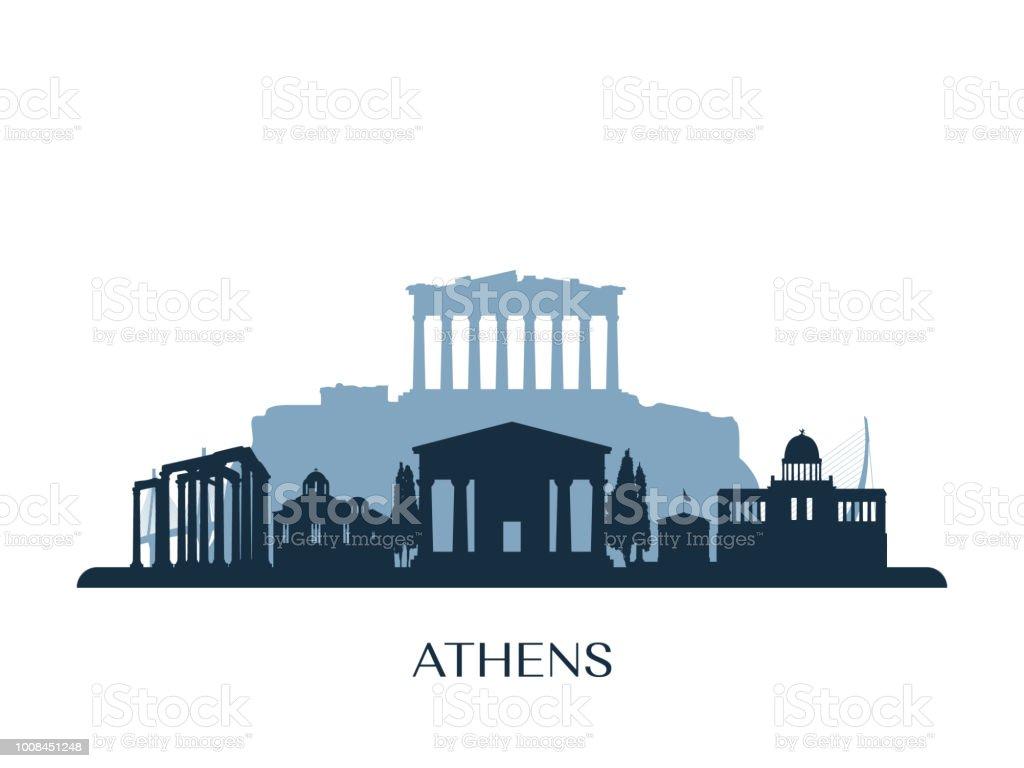 Athens skyline, monochrome silhouette. Vector illustration. vector art illustration