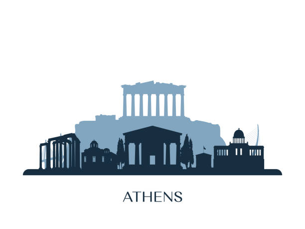 Athens skyline, monochrome silhouette. Vector illustration. Athens skyline, monochrome silhouette. Vector illustration. ancient stock illustrations