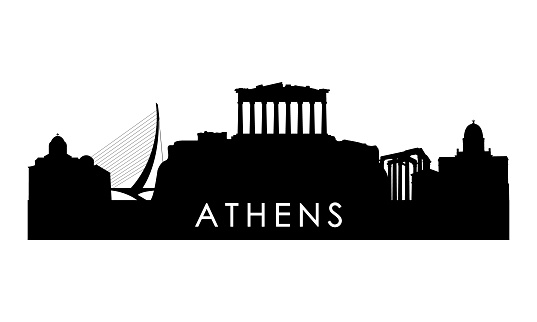 Athens skyline silhouette. Black Athens city design isolated on white background.