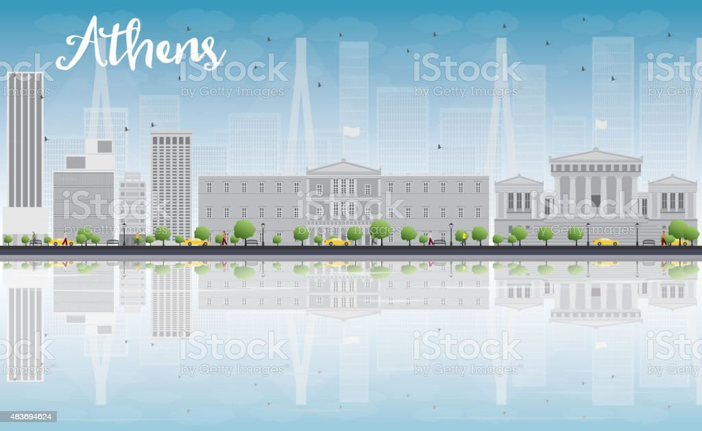 Athens Skyline with Grey Buildings, Blue Sky and reflections vector art illustration