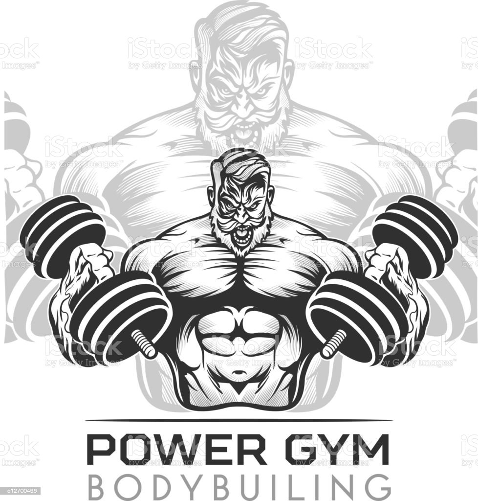 Athlet bodybuilder vector art illustration
