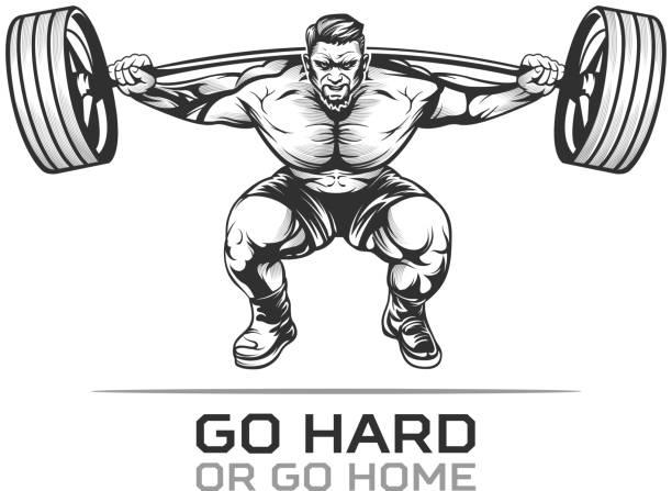 Athlet culturista con barra para pesas - ilustración de arte vectorial