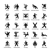Athlete and Glyph Vector Icons