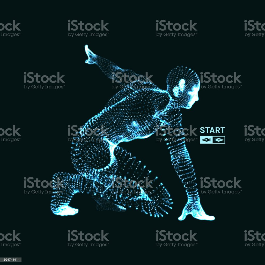 Athlete at starting position ready to start a race. Runner ready for sports exercise. Sport symbol. 3d vector illustration. royalty-free athlete at starting position ready to start a race runner ready for sports exercise sport symbol 3d vector illustration stock vector art & more images of adult