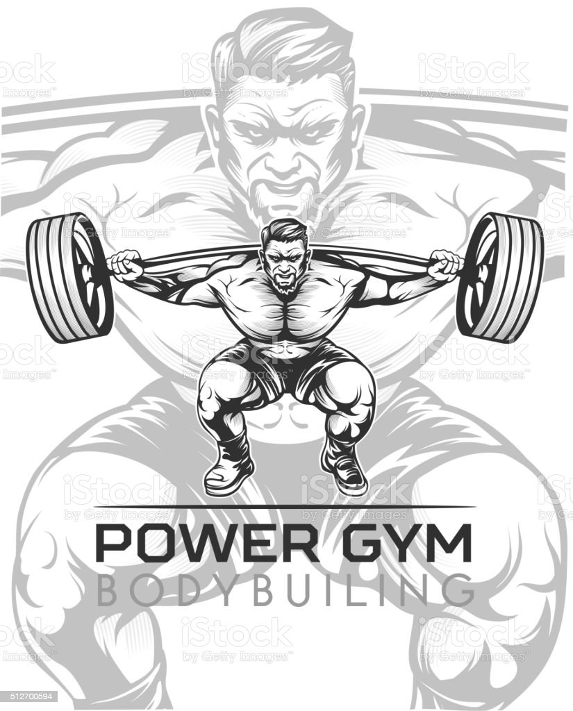 Athlet bodybuilder vector art illustration