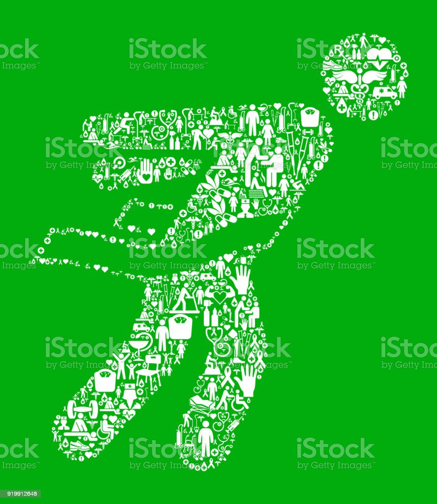Athlete Crossing Finish Line Green Medical Rehabilitation Physical Therapy vector art illustration