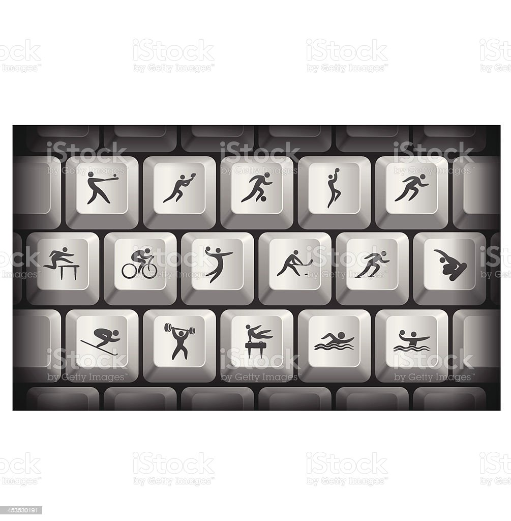 Athlete Icons on Gray Computer Keyboard Buttons royalty-free stock vector art