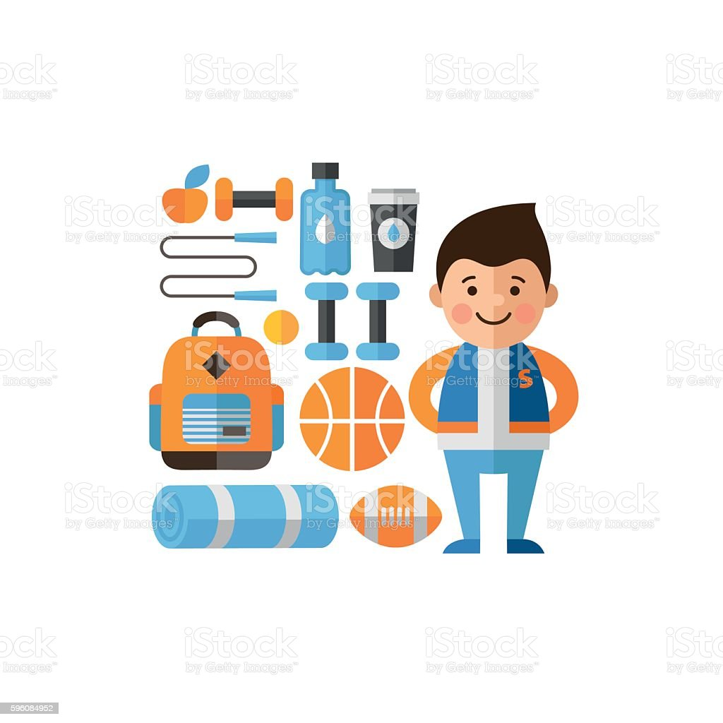 Athlete in a flat style icons on the sports theme. royalty-free athlete in a flat style icons on the sports theme stock vector art & more images of adult