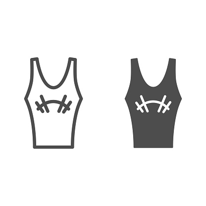 Athlete jersey line and solid icon, Gym concept, sportswear for gym sign on white background, tank top with barbell icon in outline style for mobile concept and web design. Vector graphics.