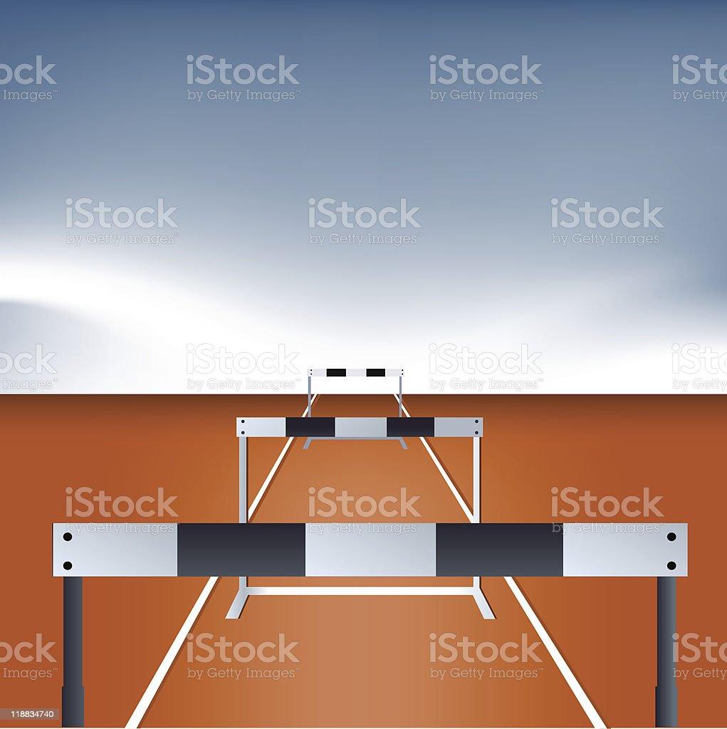 Athlete jumping hurdle vector art illustration