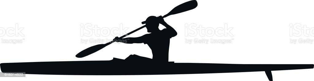 athlete kayaker sport kayak - Illustration vectorielle