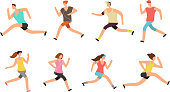 Athlete man and woman running. Energetic people runners in sportswear vector set. Sport athlete run and fitness, woman and man runner illustration