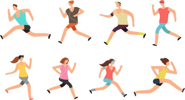illustrations, cliparts, dessins animés et icônes de athlète homme et femme en cours d'exécution. coureurs de gens énergiques dans set vector sportswear - running
