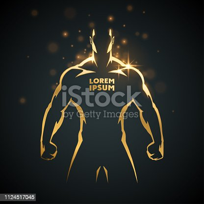 Athlete man gold silhouette in vector