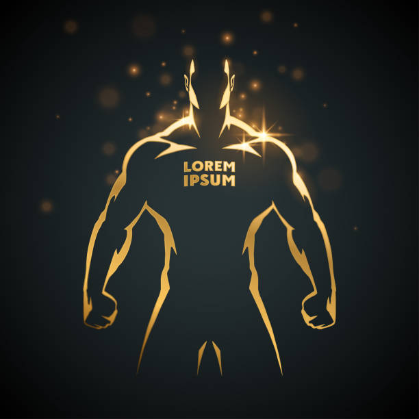 Athlete man gold silhouette Athlete man gold silhouette in vector chest torso stock illustrations