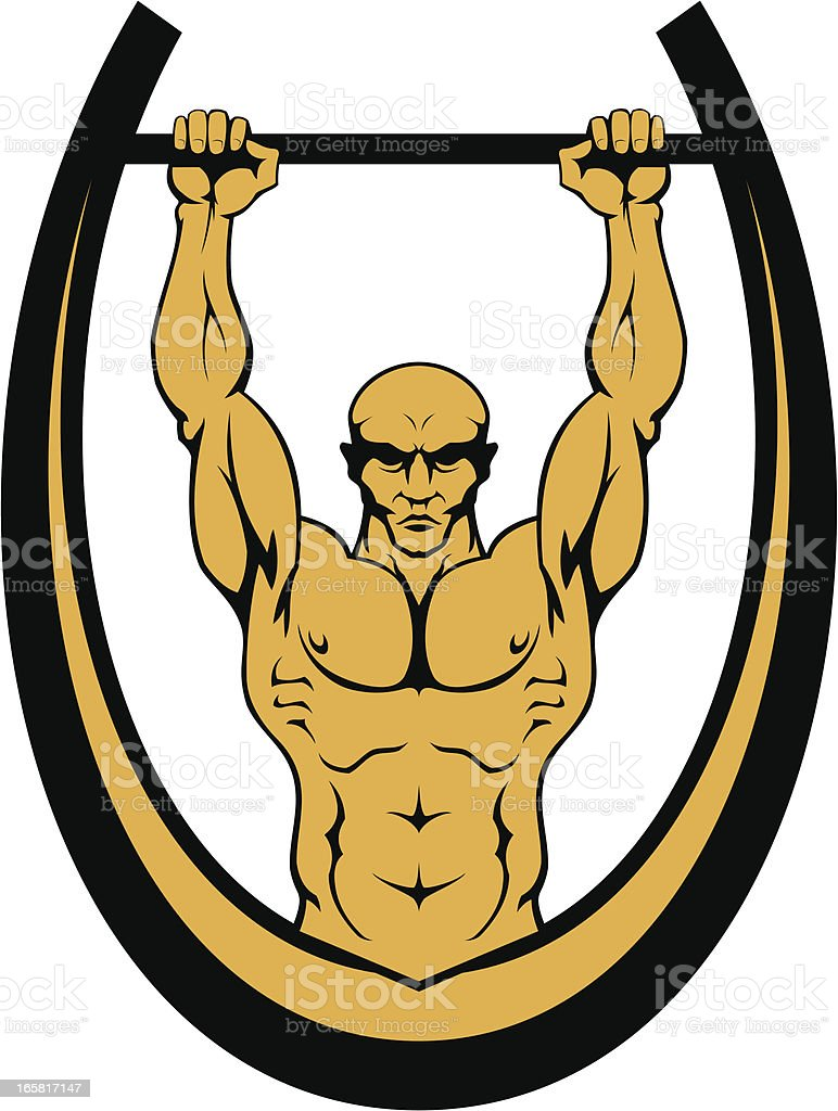 Athlete on horizontal bar (Ghetto workout) royalty-free stock vector art