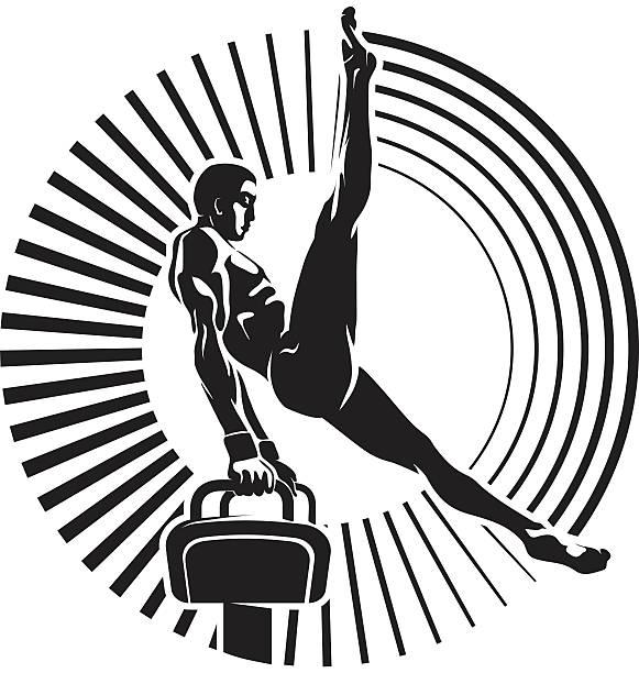 sportler auf der seitpferd. - bodysuit stock-grafiken, -clipart, -cartoons und -symbole