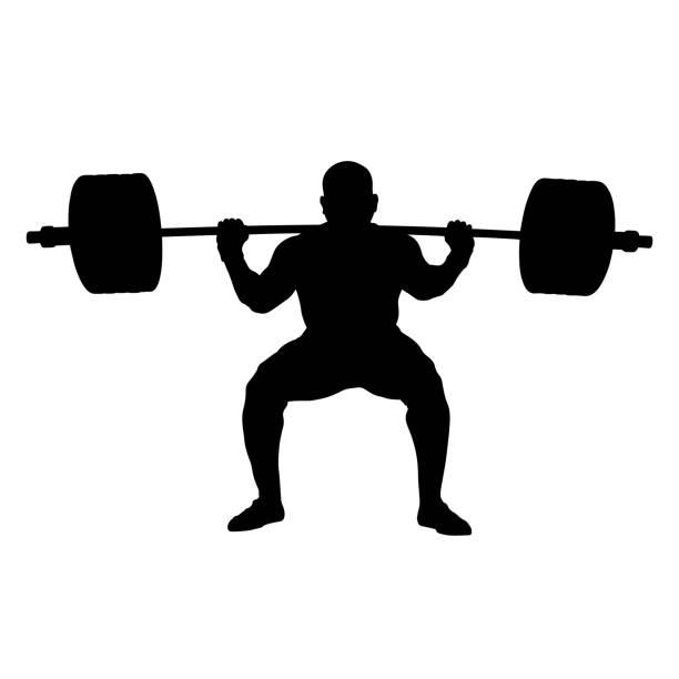 illustrazioni stock, clip art, cartoni animati e icone di tendenza di athlete powerlifter squat with barbell - pesistica