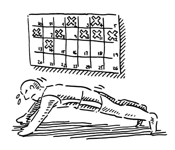 bildbanksillustrationer, clip art samt tecknat material och ikoner med idrottare push-up utbildning schema plan ritning - calendar workout