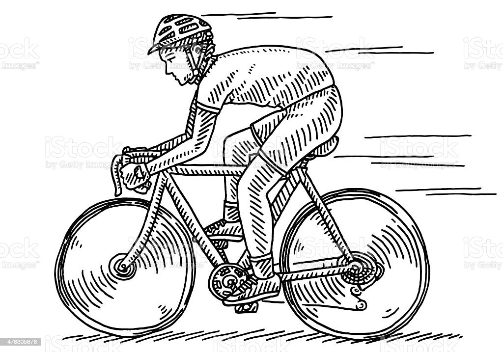 Athlete Riding Bycicle Side View Drawing vector art illustration