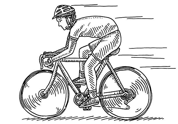 Athlete Riding Bycicle Side View Drawing Hand-drawn vector drawing of an Athlete Riding a Bycicle, Side View. Black-and-White sketch on a transparent background (.eps-file). Included files are EPS (v10) and Hi-Res JPG. cycling stock illustrations