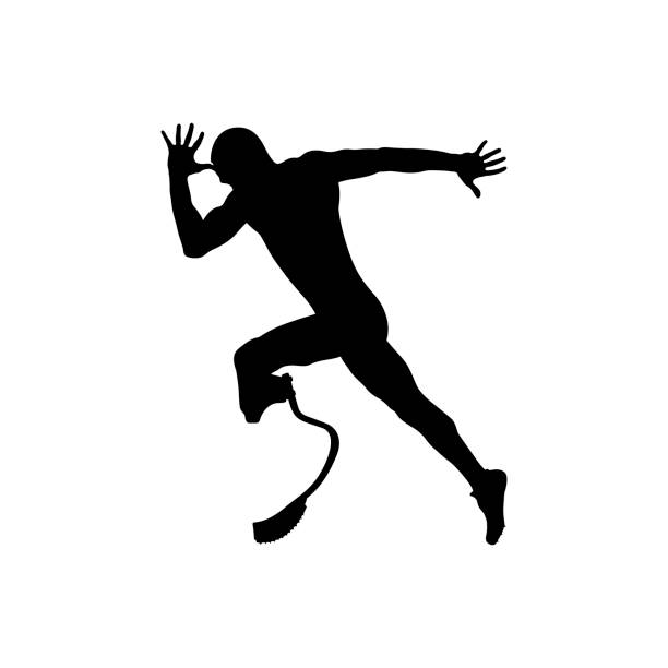 athlete runner disabled amputee vector art illustration
