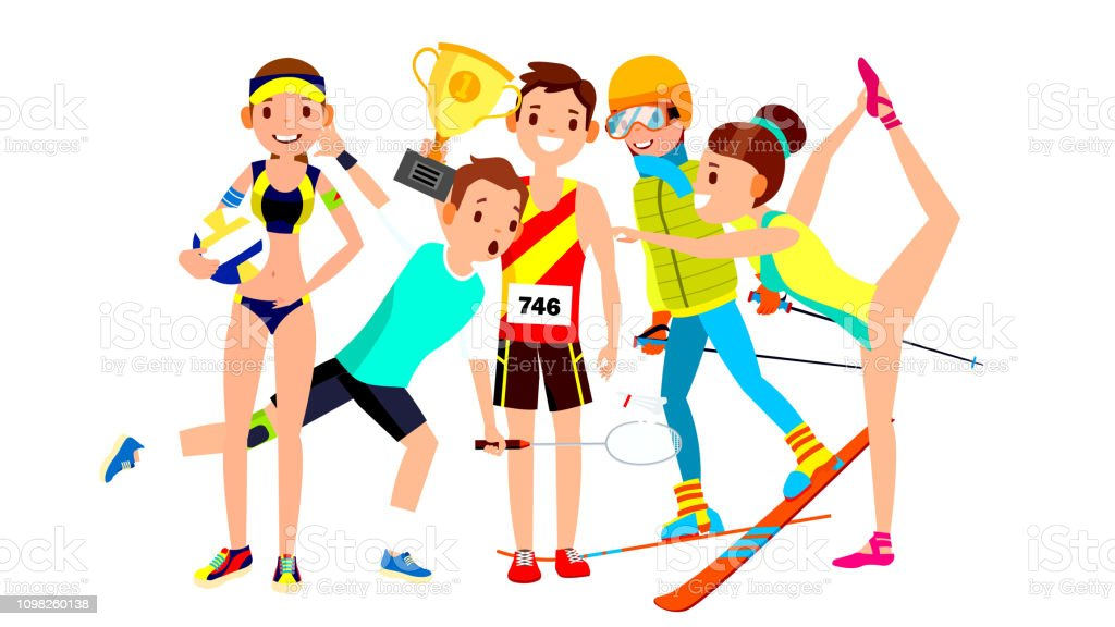 Athlete Set Vector Man Woman Volleyball Tennis Athletics Skiing ...