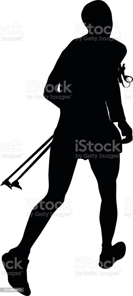 athlete skyrunner with trekking pole royalty-free athlete skyrunner with trekking pole stock vector art & more images of adult