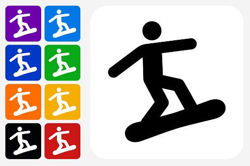 Athlete Snowboarding Icon Square Button Set