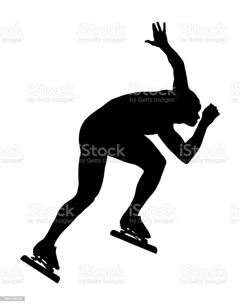 athlete speed skater vector art illustration