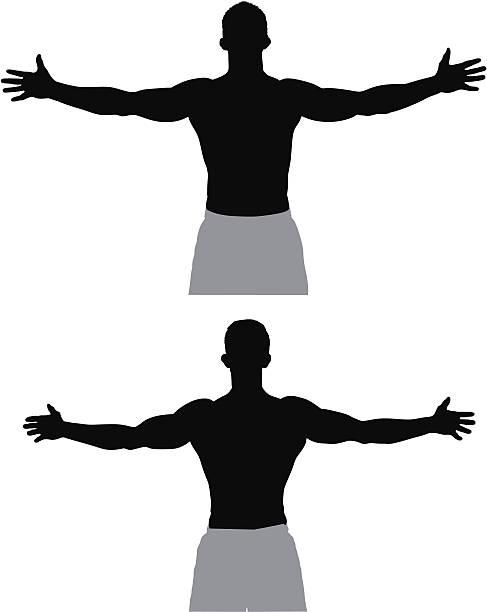 ilustrações de stock, clip art, desenhos animados e ícones de atleta de pé com os braços abertos - tronco nu