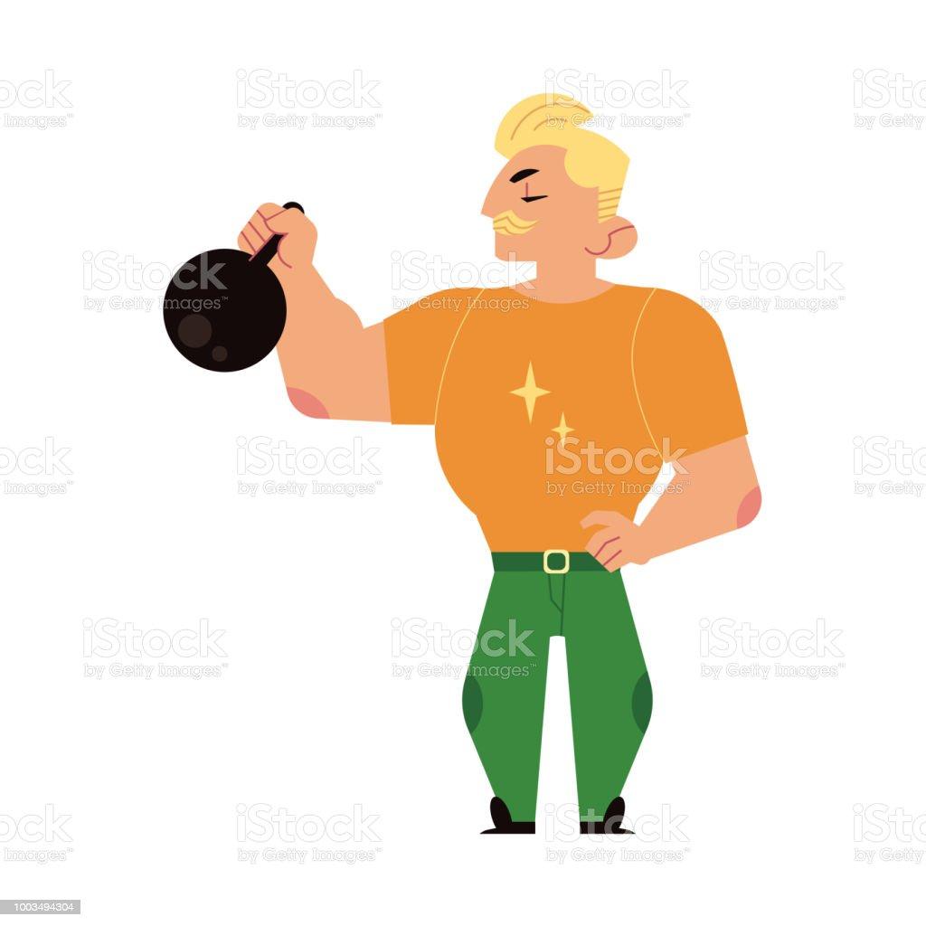 Athlete Strongman Weightlifter Lifting Kettlebell Stock
