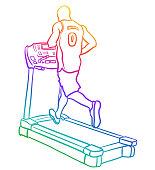 A male athlete jogging on a treadmill