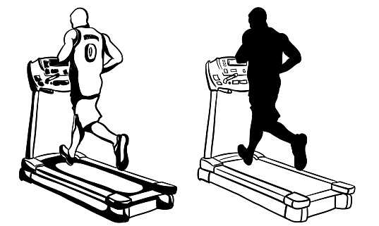 Athlete Training On Treadmill Silhouette