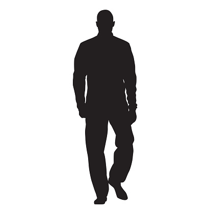 Athlete walking in tracksuit and anorak, front view, man vector silhouette