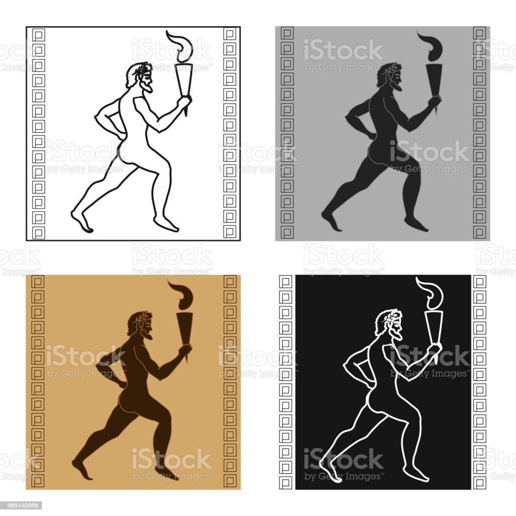 Athlete with olympic fire icon in cartoon style isolated on white background. Greece symbol stock vector web illustration. royalty-free athlete with olympic fire icon in cartoon style isolated on white background greece symbol stock vector web illustration stock vector art & more images of adult