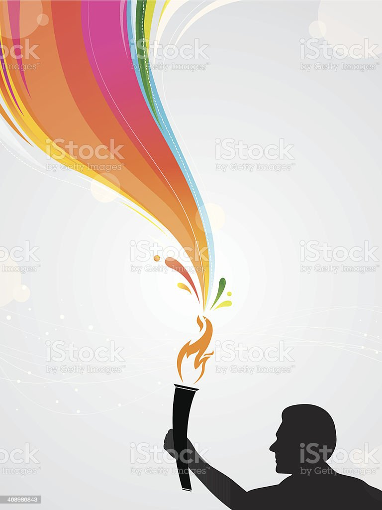 Athlete with torch royalty-free stock vector art