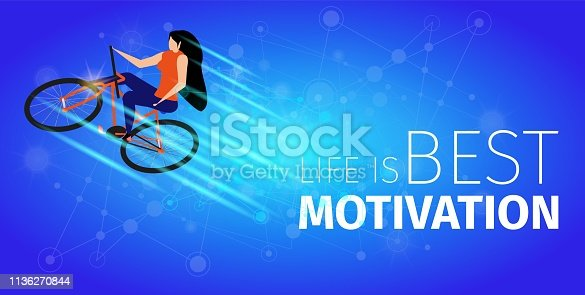 Life is Best Motivation. Athlete Woman Doing Extreme Bike Trick on Blue Gradient Background. Girl Ride Cycle. Biking. Healthy Lifestyle, Summer Sport Active Leasure. Flat Vector Isometric Illustration