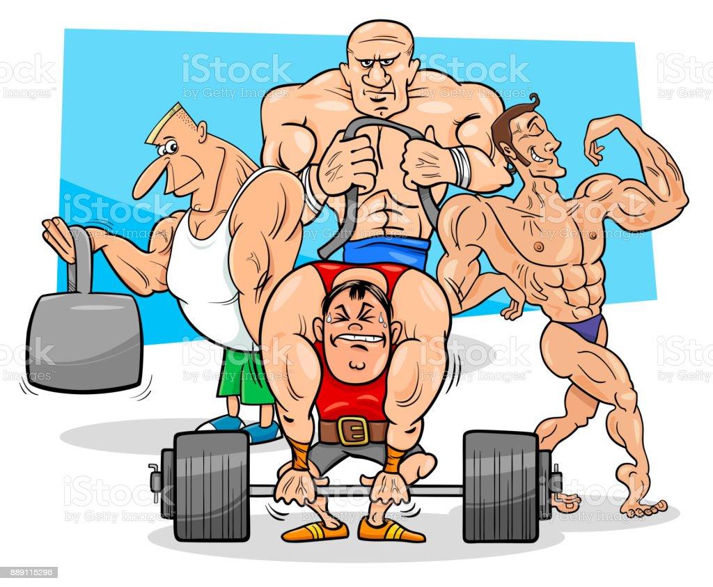 Ilustraci n de dibujos animados de los atletas en el - Imagenes de gimnasio ...