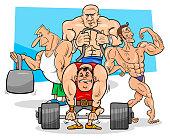 athletes at the gym cartoon illustration