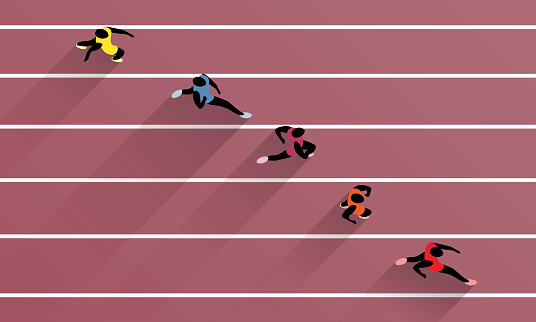 Athletes On Athletic Race Track