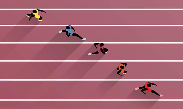 ilustraciones, imágenes clip art, dibujos animados e iconos de stock de athletes on athletic race track - atletismo