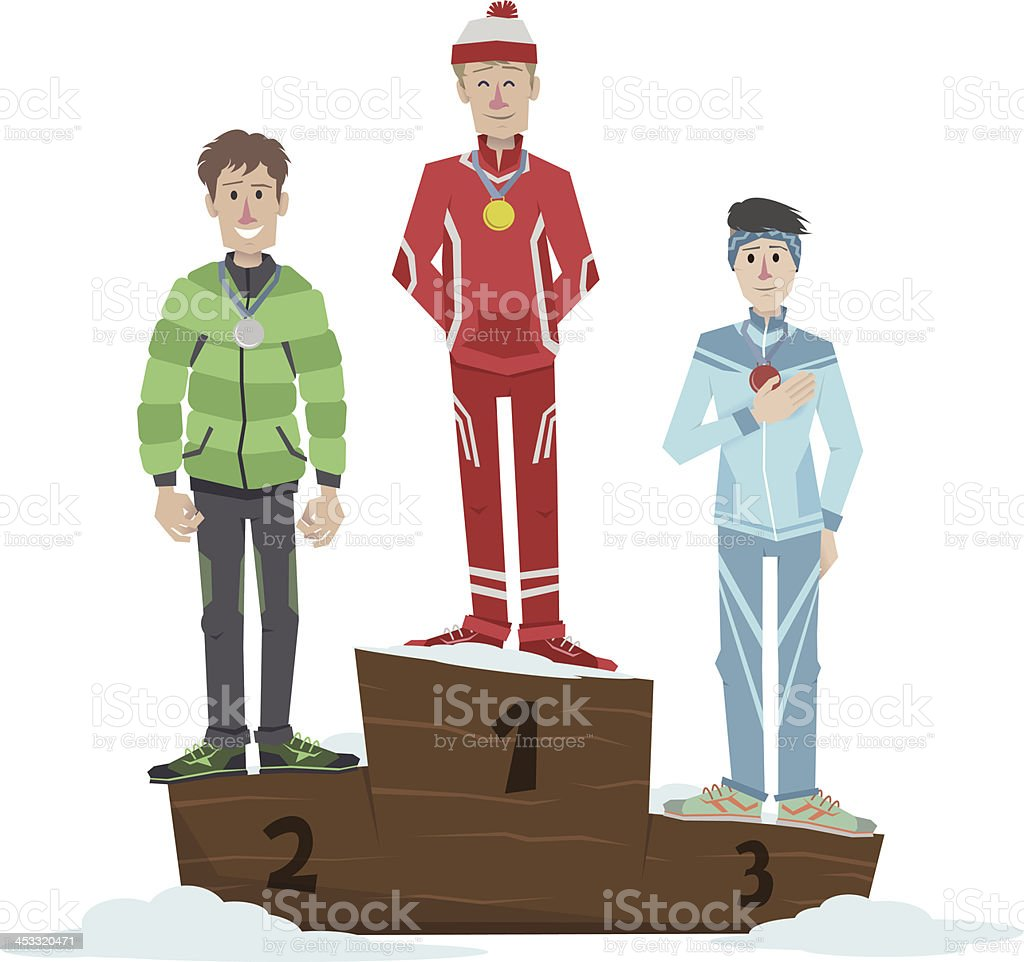 Athletes on the podium in winter royalty-free stock vector art