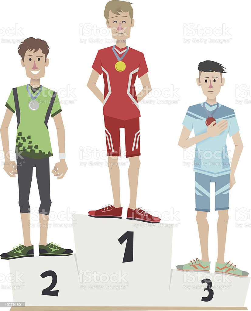 Athletes on the podium royalty-free stock vector art